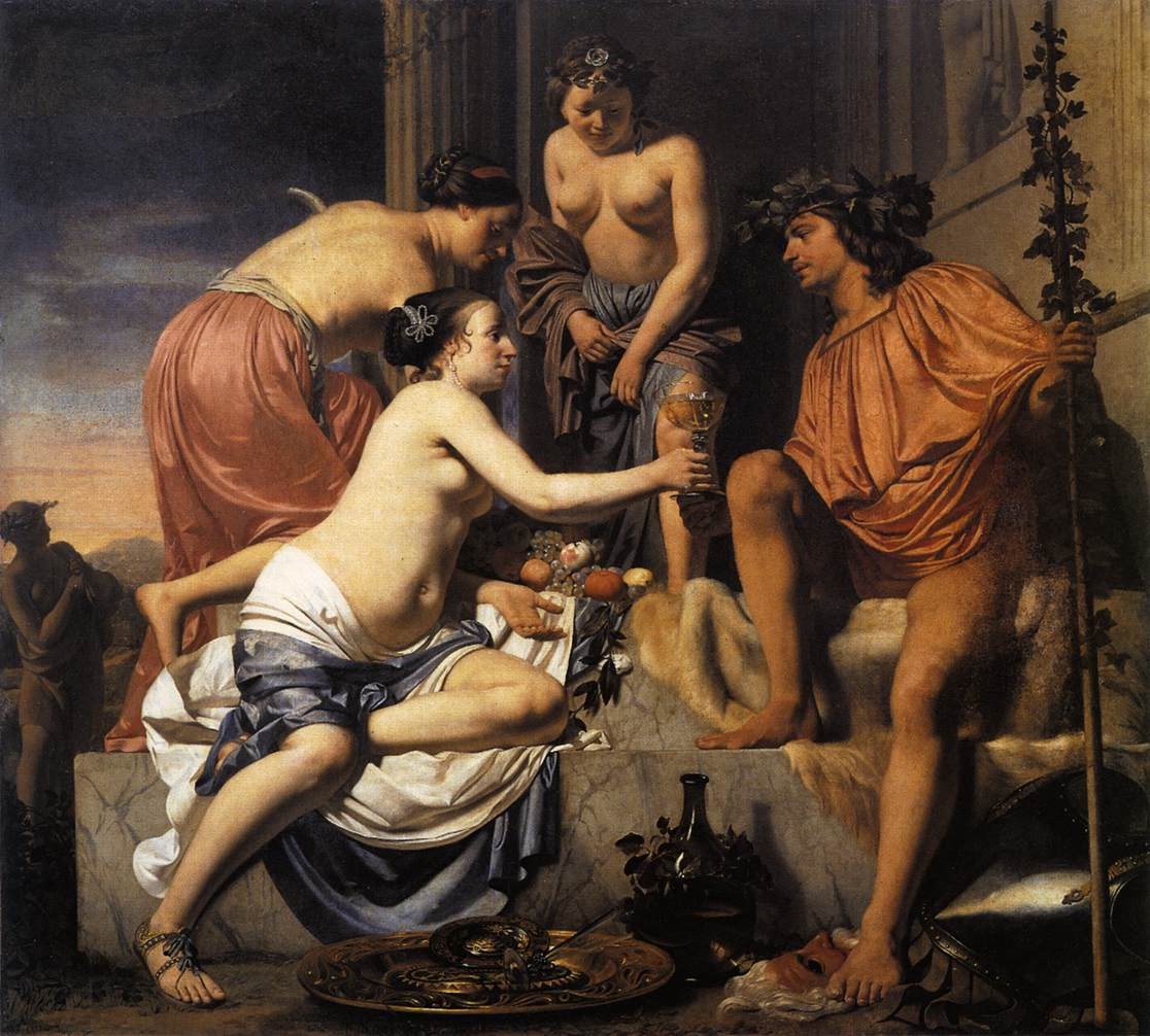 Painting, >Nymphs Offering the Young Bacchus Wine, Fruit and ...